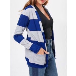 Sweaters - Blue/Gray Striped Open Front Cardigan